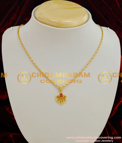 SCHN015 - Gold Plated Zircon Stone Flower Dollar with Stylish Nice Chain Imitation Jewellery