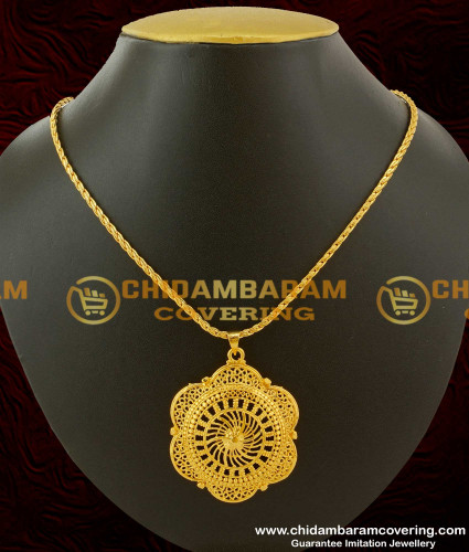 SCHN034 - Magnificent Art Flower Design Pendent With Short Chain Gold Plated Jewelry Online