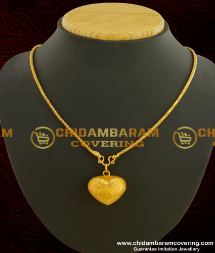 SCHN044 - Gold Plated Puffed Heart Pendant with Short Chain Online