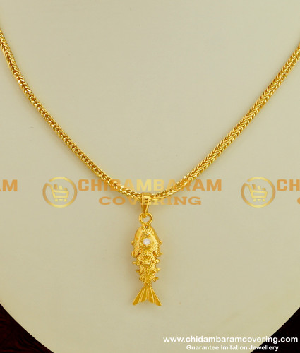 SCHN076 - Most Popular Gold Fish Pendant with Solid Matching Short Chain Online