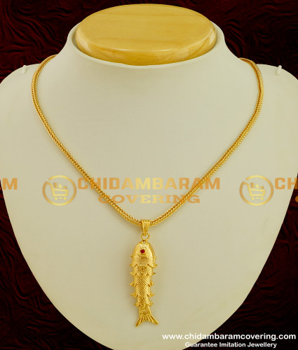 SCHN077 - Lucky Charm Big Size Gold Fish Pendant with Chain Guarantee Jewellery Online