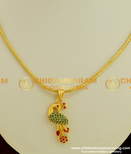 SCHN078 - Beautiful Peacock Design Ruby Emerald Stone Pendant with Chain Online