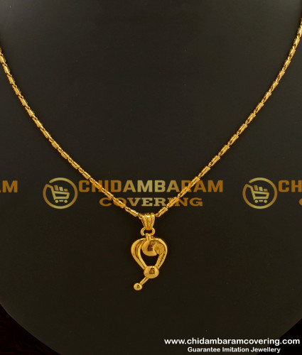SCHN091 - Buy One Gram Gold Pendant with Short Chain Collections Online
