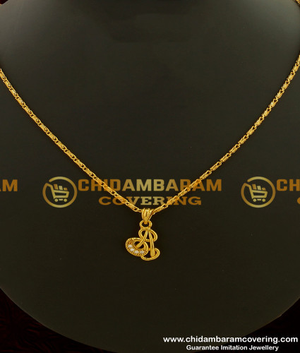 SCHN094 - Gorgeous Gold Design Stone Stylish Pendant with Short Chain Online