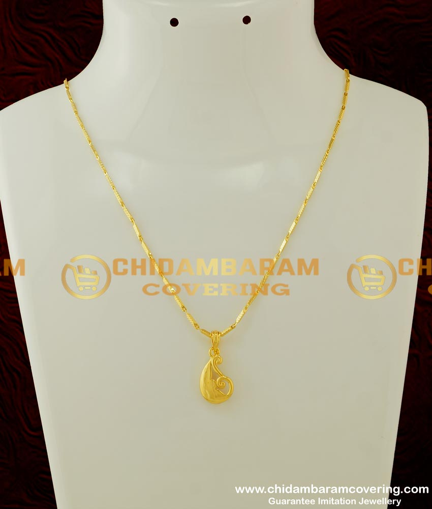 SCHN158 - Buy One Gram Gold Daily Wear Plain Casting Pendant with Chain For Girls