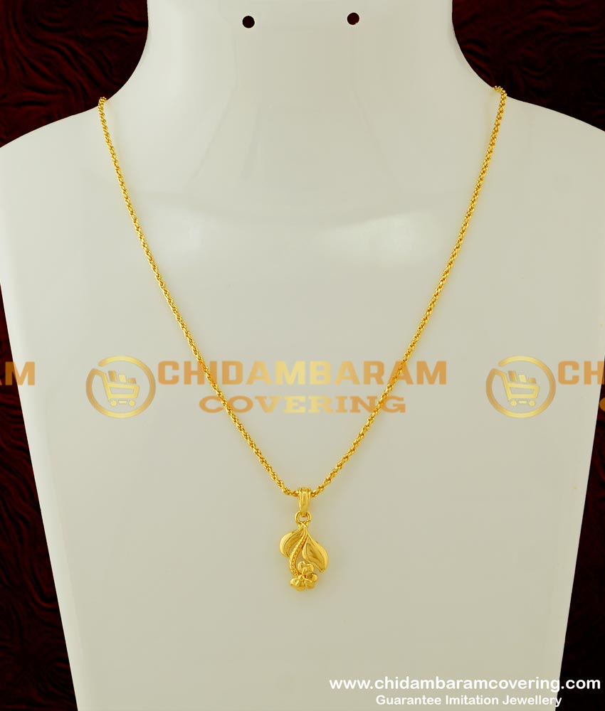 SCHN160 - 18 Inches Chain with Unique Flower Design Gold Casting Pendant for Women
