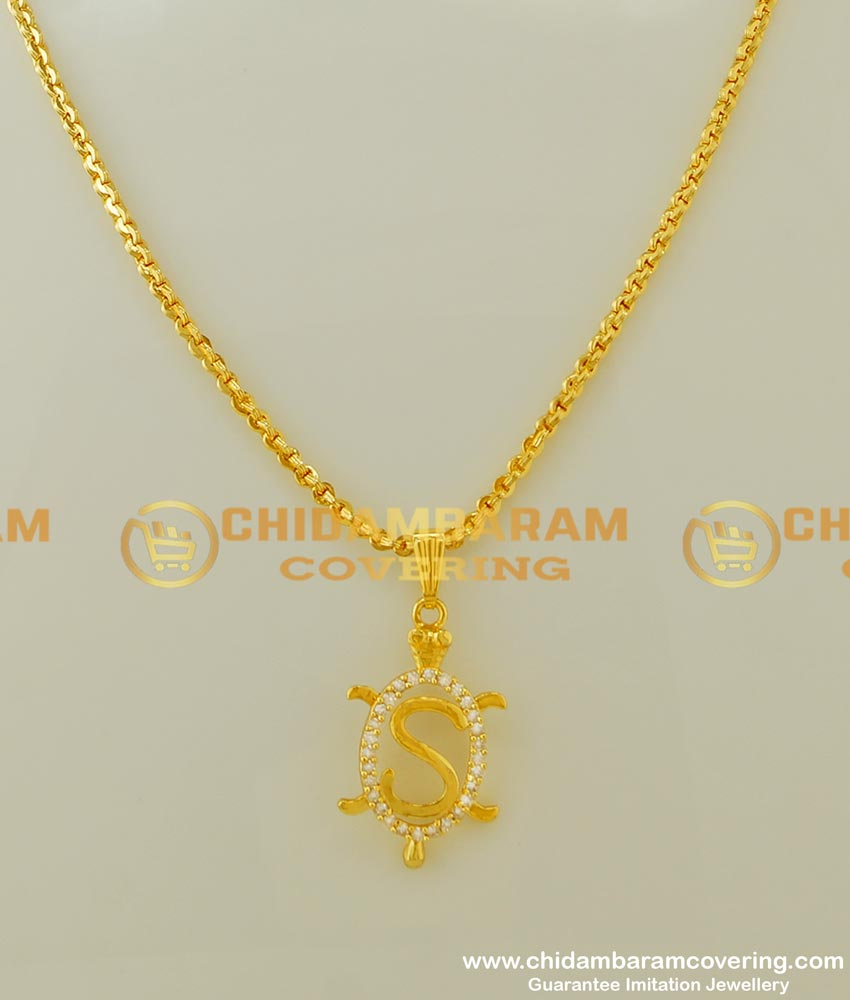 SCHN161 - American Diamond Gold Plated Alphabet 'S' Letter Pendant With Chain for Boys and Girls