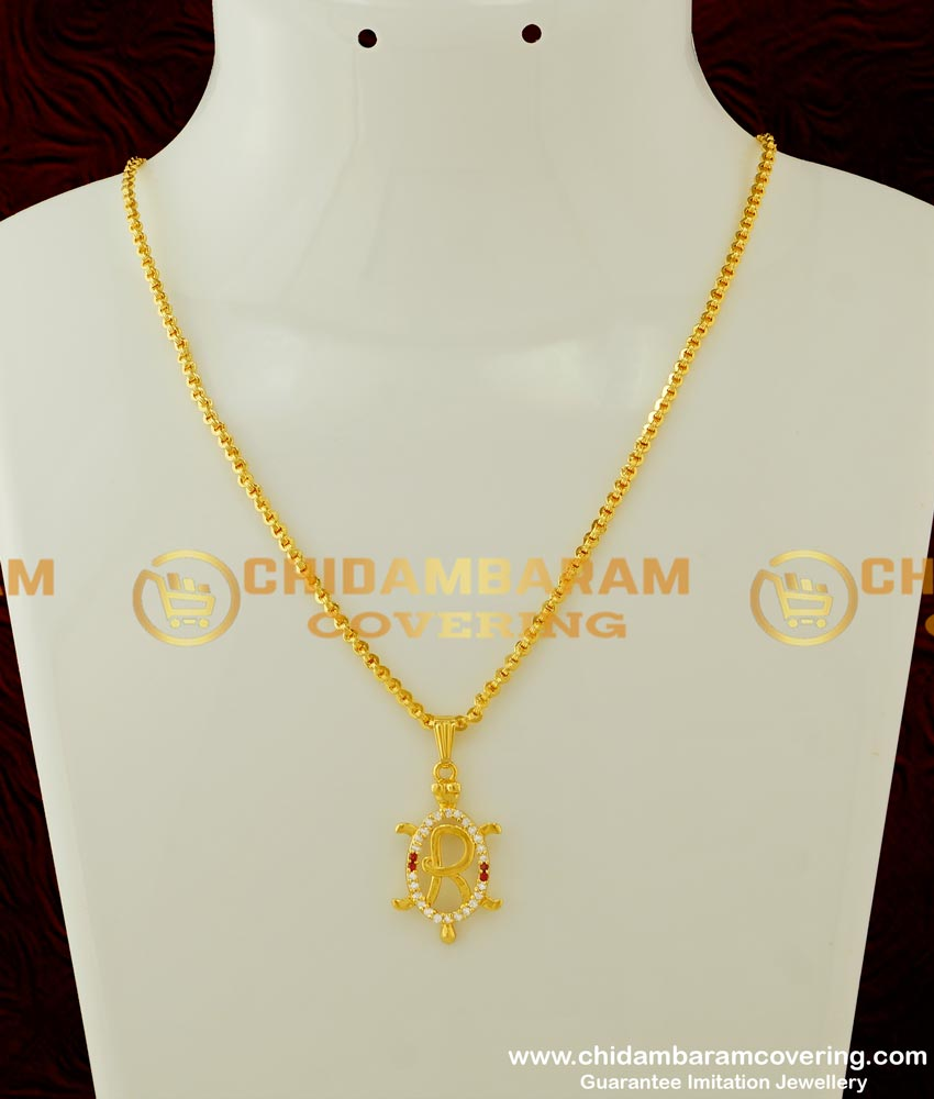 SCHN162 - Short Chain with Gold Initial 'R' Letter Stone Pendant online