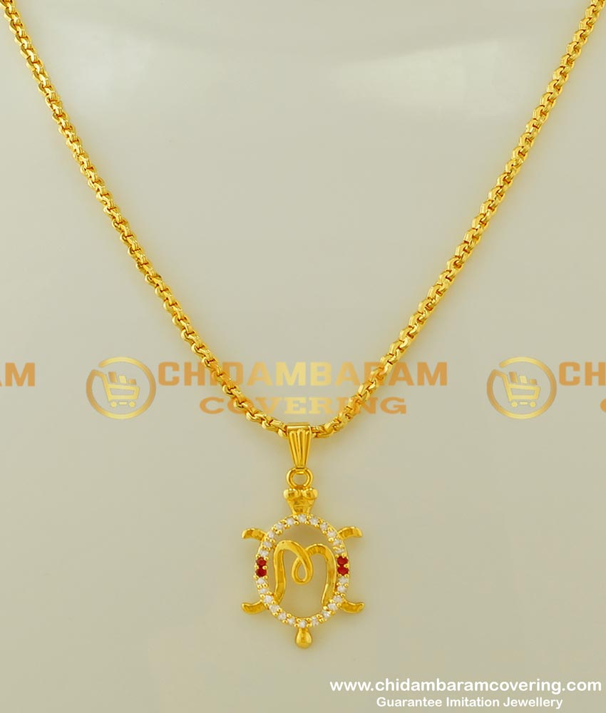 SCHN163 - Gold Plated Short Chain with Gold Initial 'M' Letter Alphabet Pendant