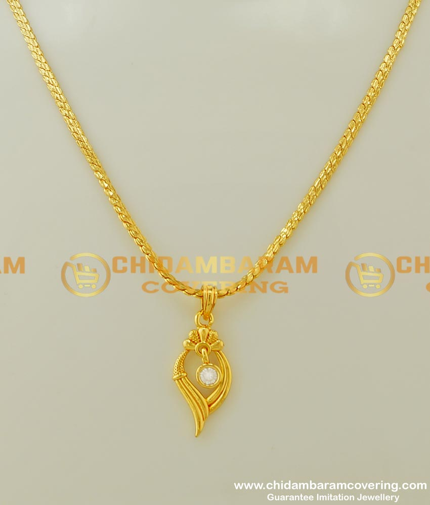 SCHN164 - Trendy One Gram Gold Chain with Modern White Stone Dollar Design for Female
