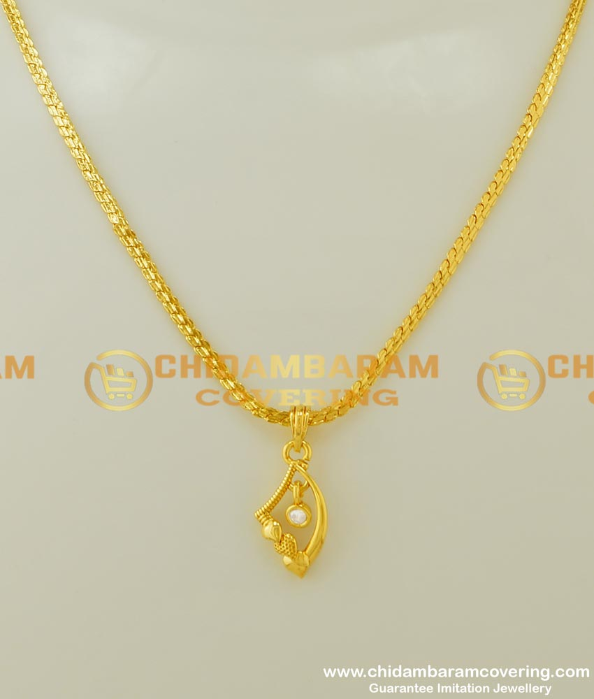 SCHN165 - Gold Chain Design with Fashionable Single Stone Small Dollar Imitation Jewellery