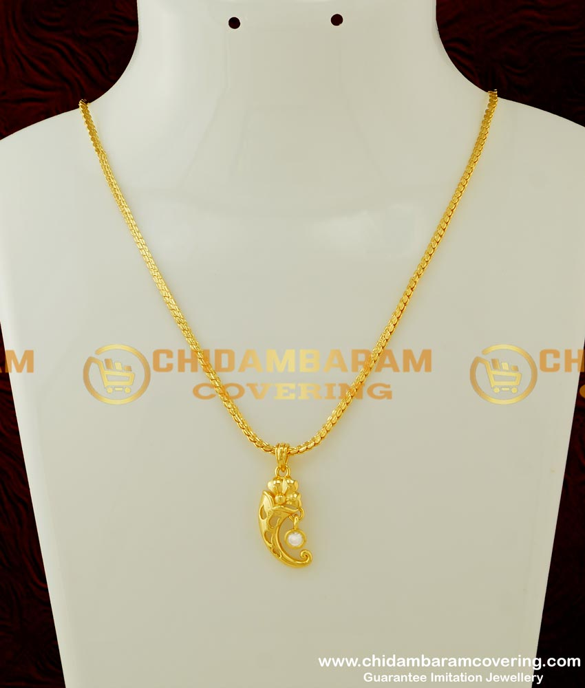 SCHN166 - Latest Diamond Stone Gold Casting Pendant Chain Artificial Jewellery Designs