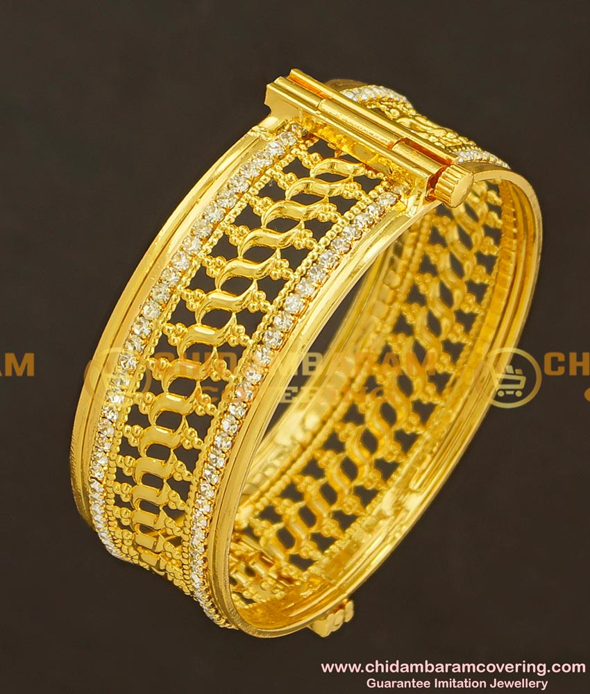 BNG001 - 2.4 Size Gold Plated American Diamond Sparkling White Stone Party Wear Imitation Bangle Buy Online