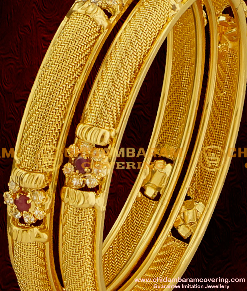 BNG002 - 2.8 Size Latest Chidambaram AD Sparkling White and Red Stone Floral Design Imitation Bangle Buy Online