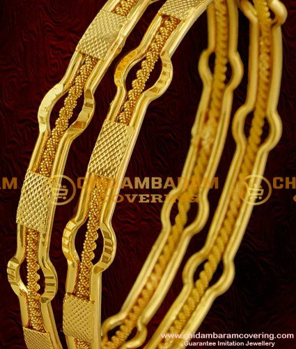 BNG011 - 2.6 Size Latest Gold Design Exclusive Bridal 2 Pcs Set Bangles Jewelry Collections Online