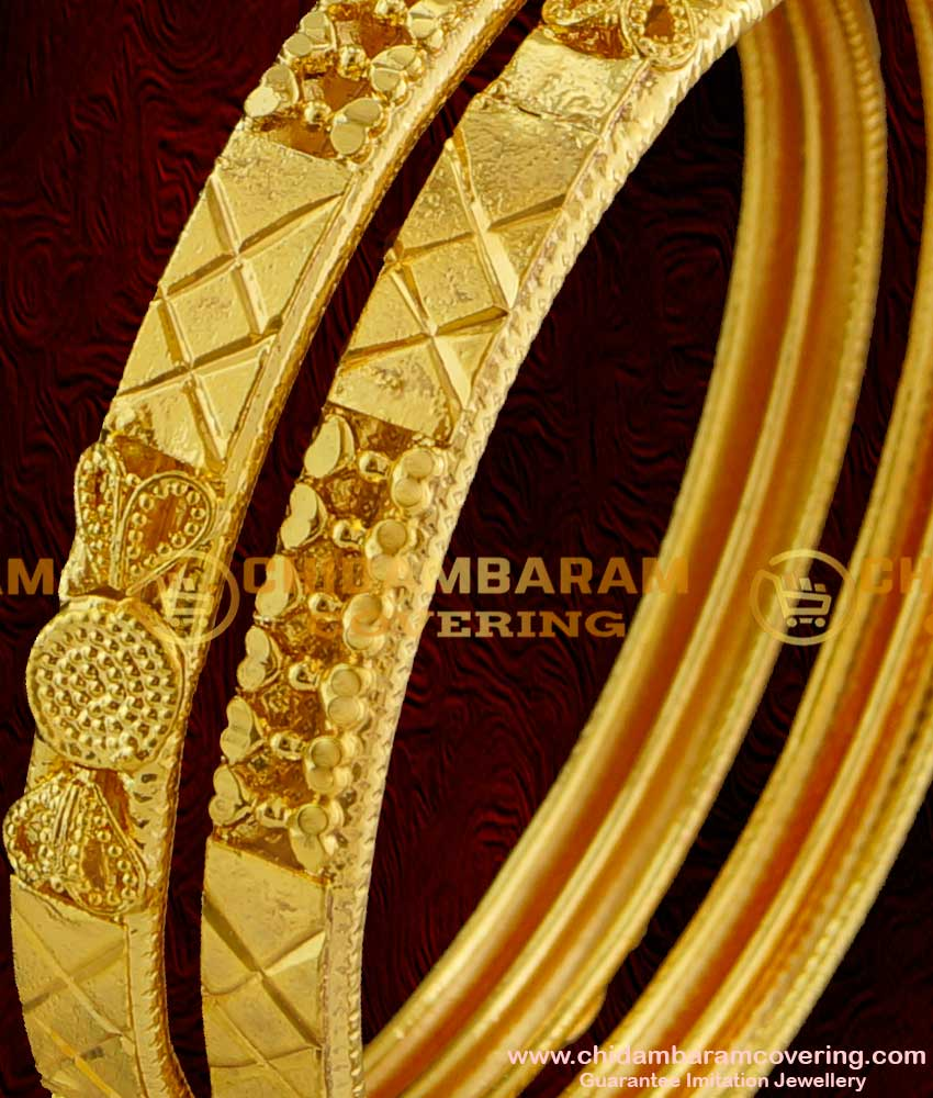 BNG014 - 2.8 Size Latest Calcutta Design Projected Heart Model Bangles Buy Online