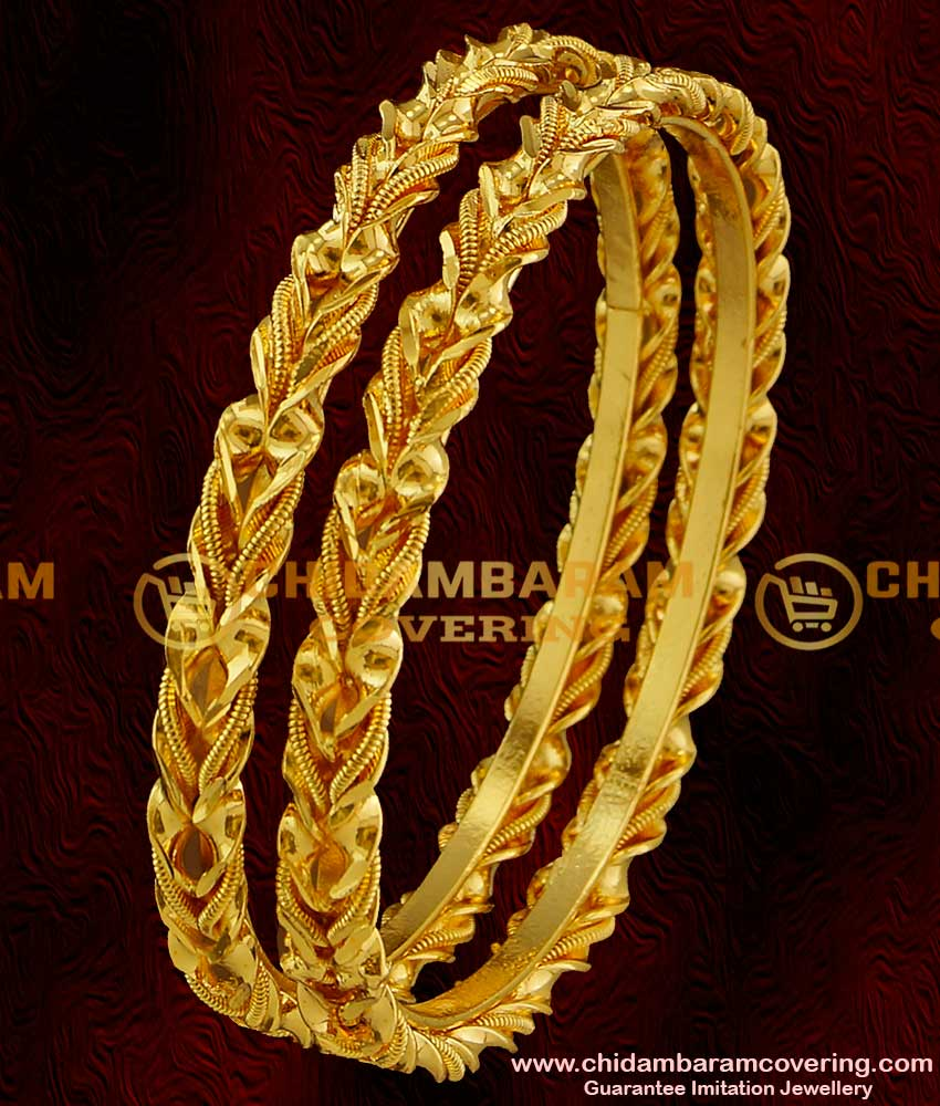 BNG017 - 2.6 Size One Gram Gold Plated Antique Curvy Olive Leaf Design Daily Wear Bangles Online