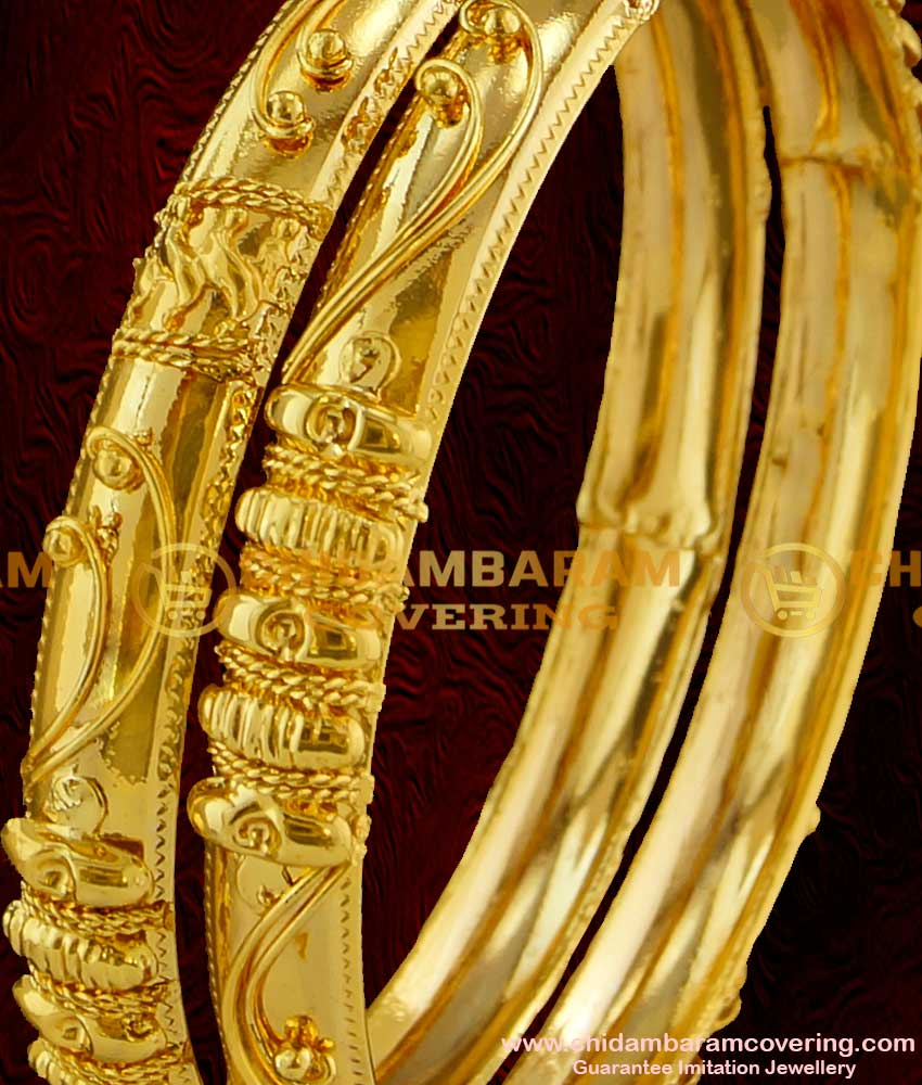 BNG018 - 2.8 Size New Arrival Gold Bangle Design Kerala Type Guarantee Imitation Bangles Online