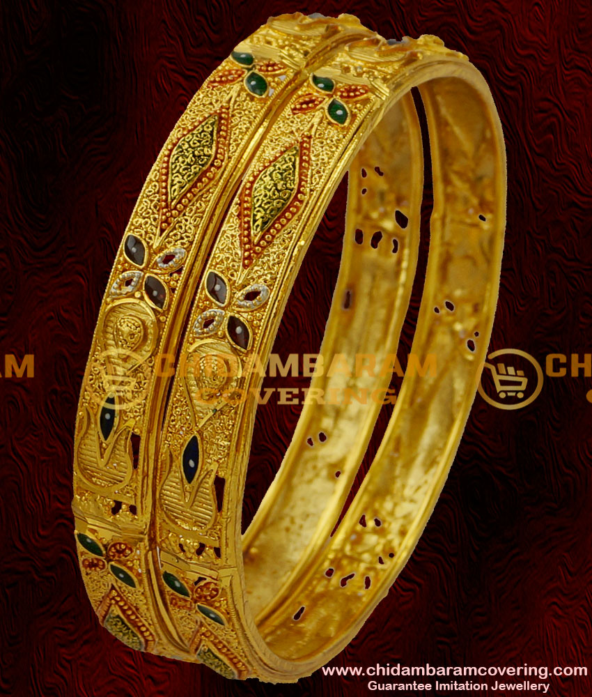 BNG021 - 2.6 Size Broad Forming Gold Enamel Bangles Design Latest Fashion Jewellery Buy Online