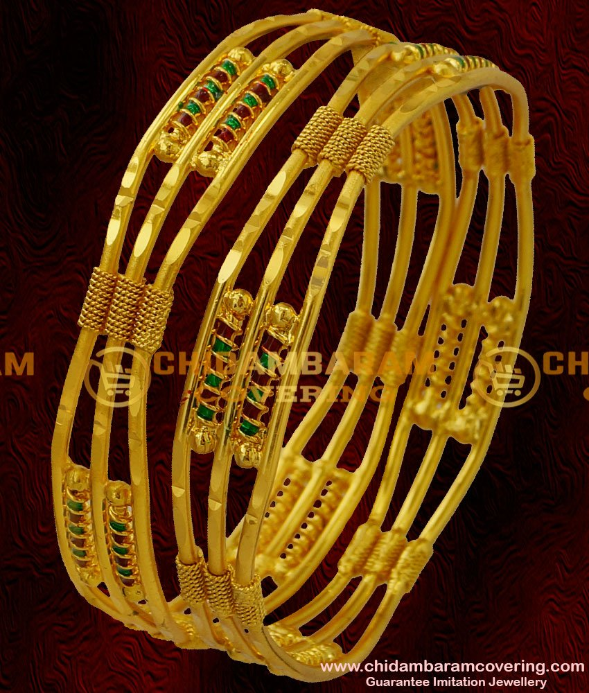 BNG022 - 2.6 Size South Indian 2 Pieces Designer Bangles Matte Finish Gold bangles Collection Online