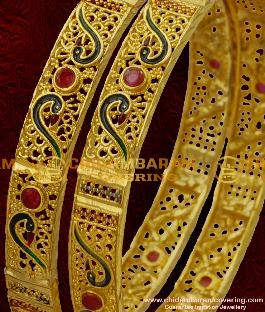 BNG027 - 2.6 Size Broad Two Pcs Peacock Design Gold Matt Finish Forming Bangle for Women and Girls