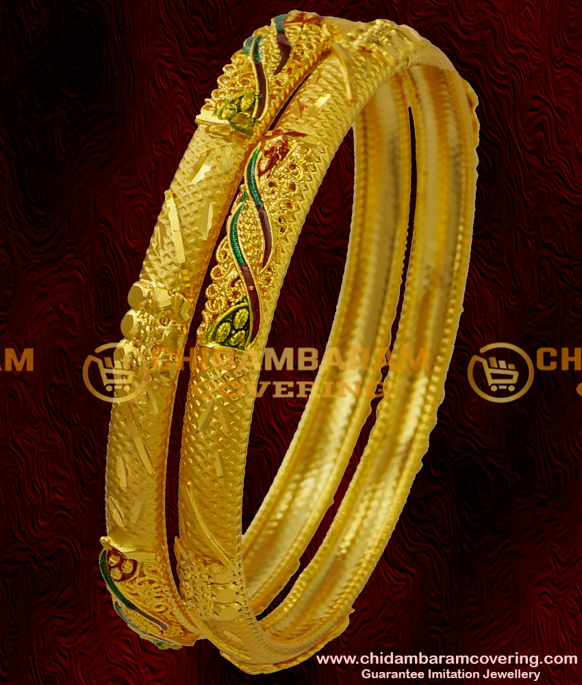 BNG028 - 2.6 Size Latest Matte Finish Forming Bangle Design Diamond Cut with Enamel Model Shop Online