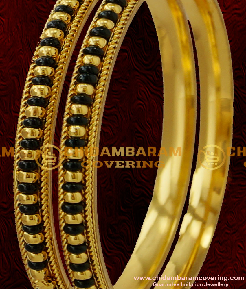 BNG030 - 2.8 Size Handmade Black Beaded Karugamani Twisted Design Guarantee Bangles Collection Online