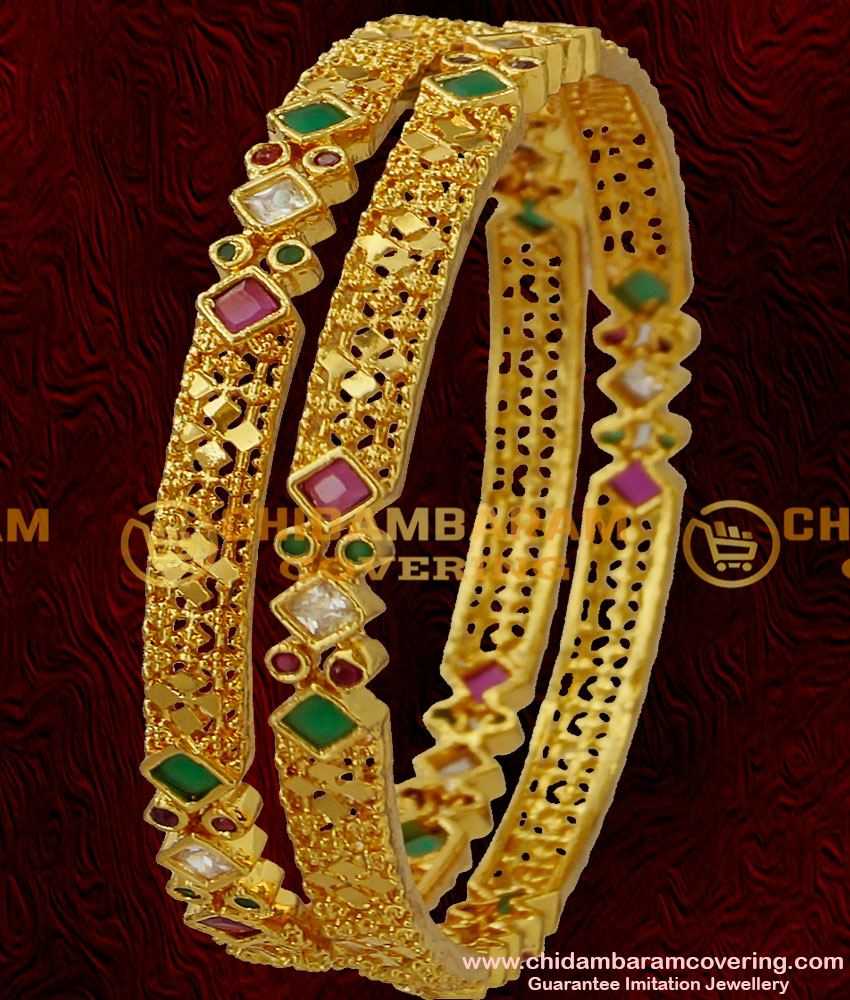 BNG033 - 2.6 Size Party Wear Sparkling Square Shaped Multi Zircon Stone Bangle Buy Online