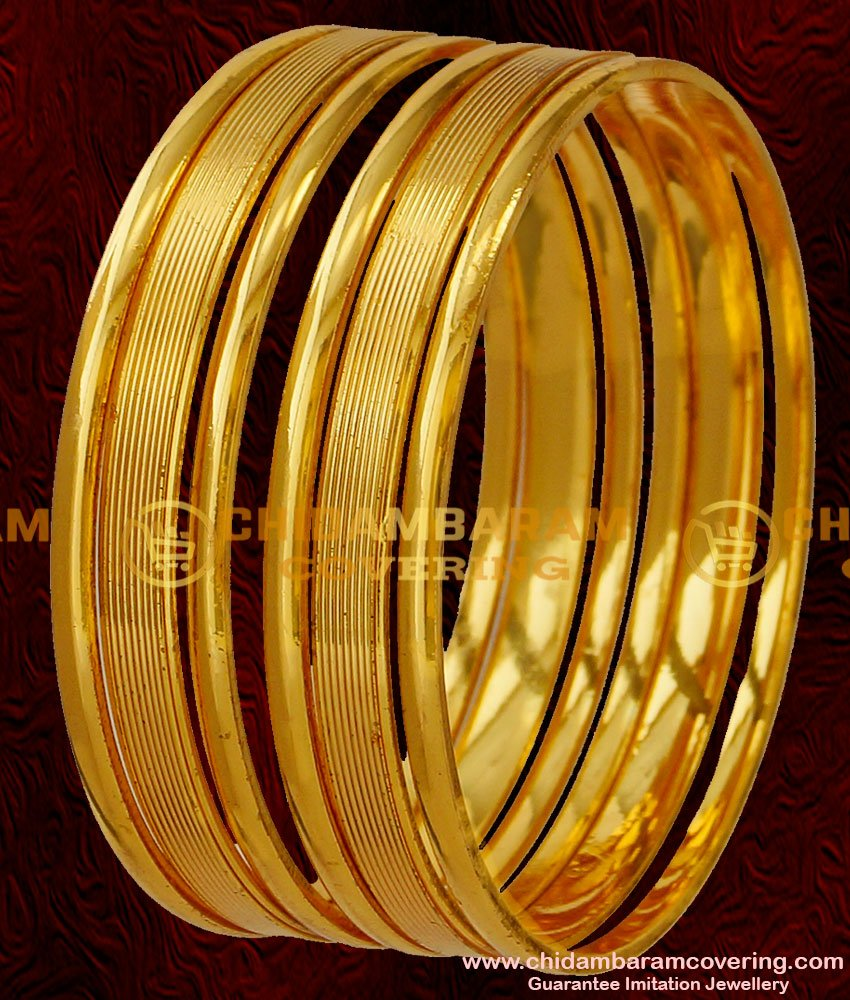 BNG040 - 2.4 Size Stylish Shiny Design Six Pieces Thick Heavy Bangles Online Collection