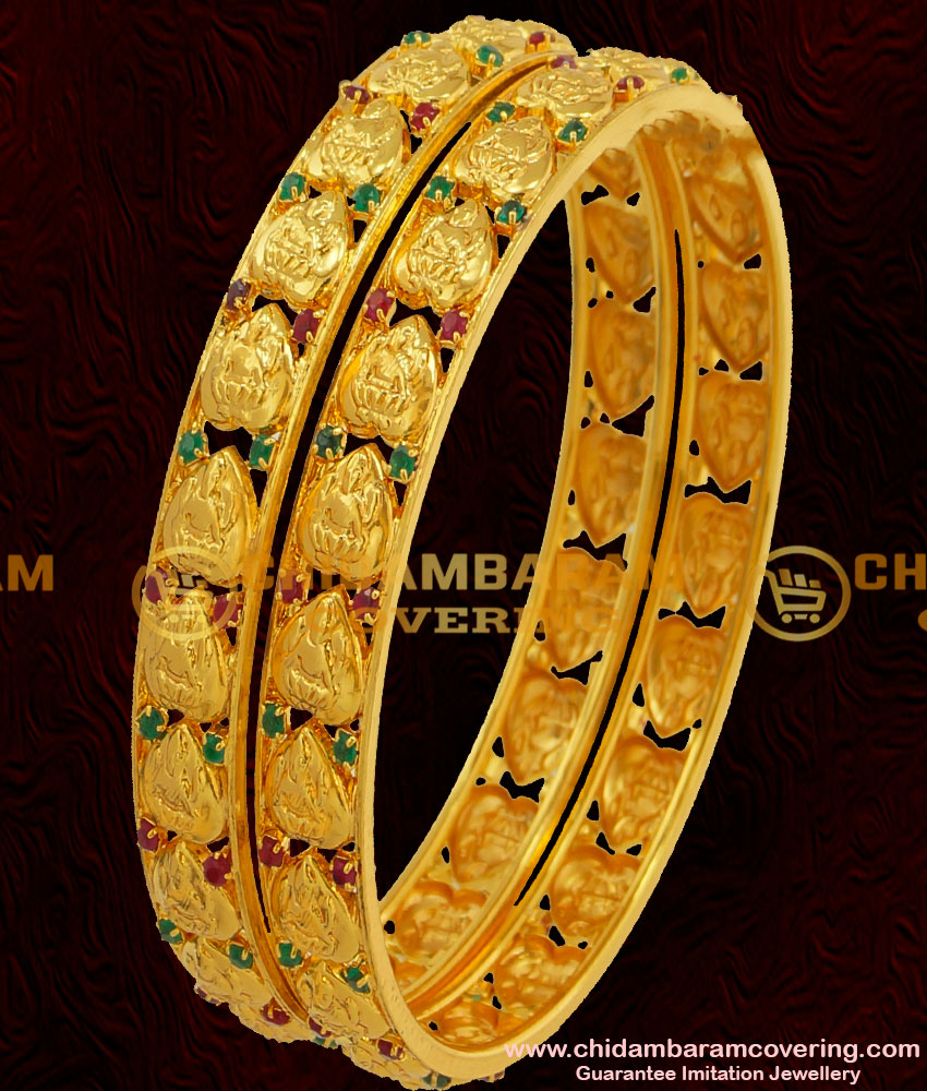 BNG042 - 2.4 Size Traditional Gold Plated Lakshmi Design Bangles with Ruby and Emerald Stone Online Shopping