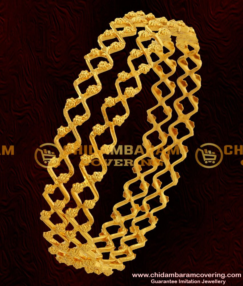 BNG043 - 2.4 Size Beautiful Gold Inspired Zig Zag One Line Bangle Design Online Shopping