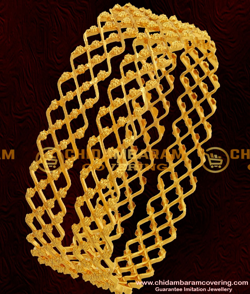 BNG044 - 2.4 Size Beautiful Gold Inspired Zig Zag Two Line Bangle Design Online Shopping