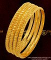 BNG047 - 2.4 Size Traditional Muthu Bangles 4 Pcs Set Daily Wear Gold Plated Bangles Collection Online