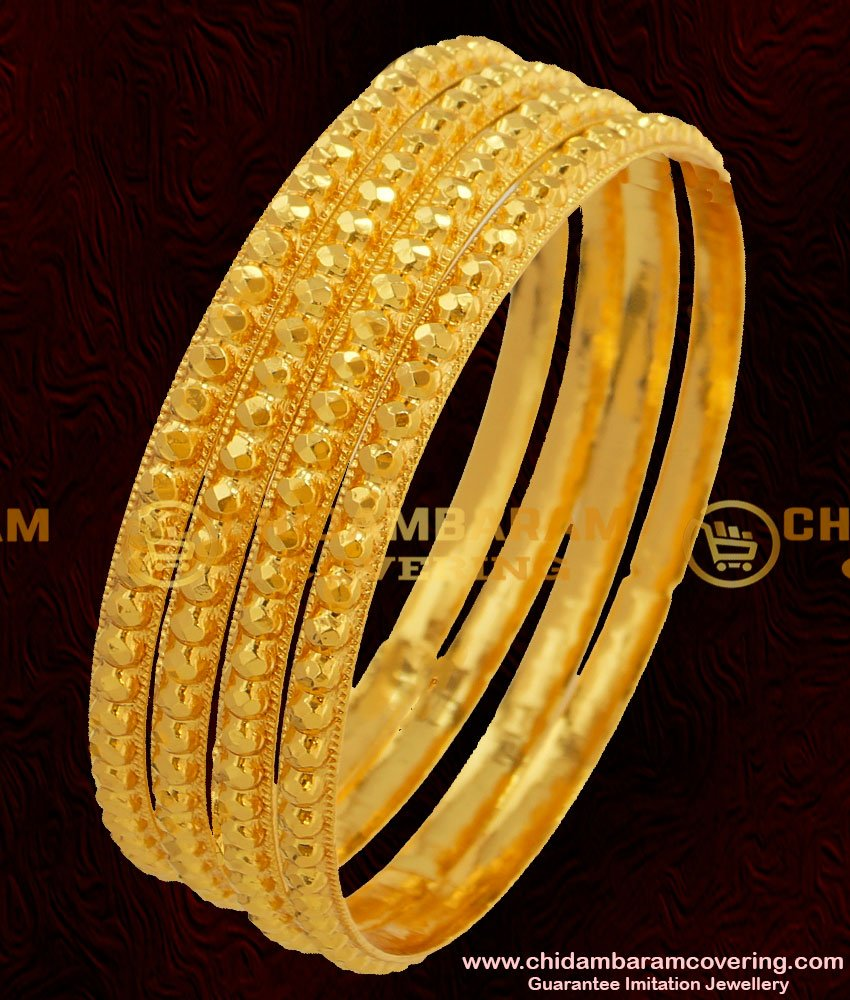 BNG047 - 2.8 Size Traditional Muthu Bangles 4 Pcs Set Daily Wear Gold Plated Bangles Collection Online