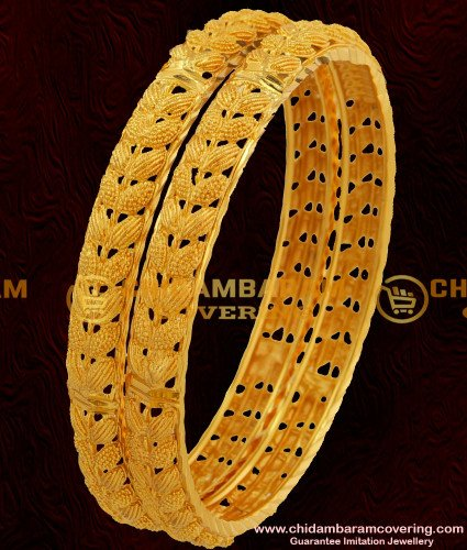BNG049 - 2.8 Size Grand Look Double Side Leaf Design High Quality Bangles Gold Plated Jewellery Online