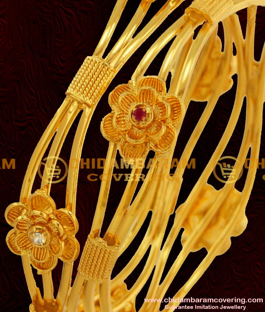 BNG050 - 2.4 Size Latest Collection Bridal Wear Flower Design Multi Stone Imitation Bangles Online