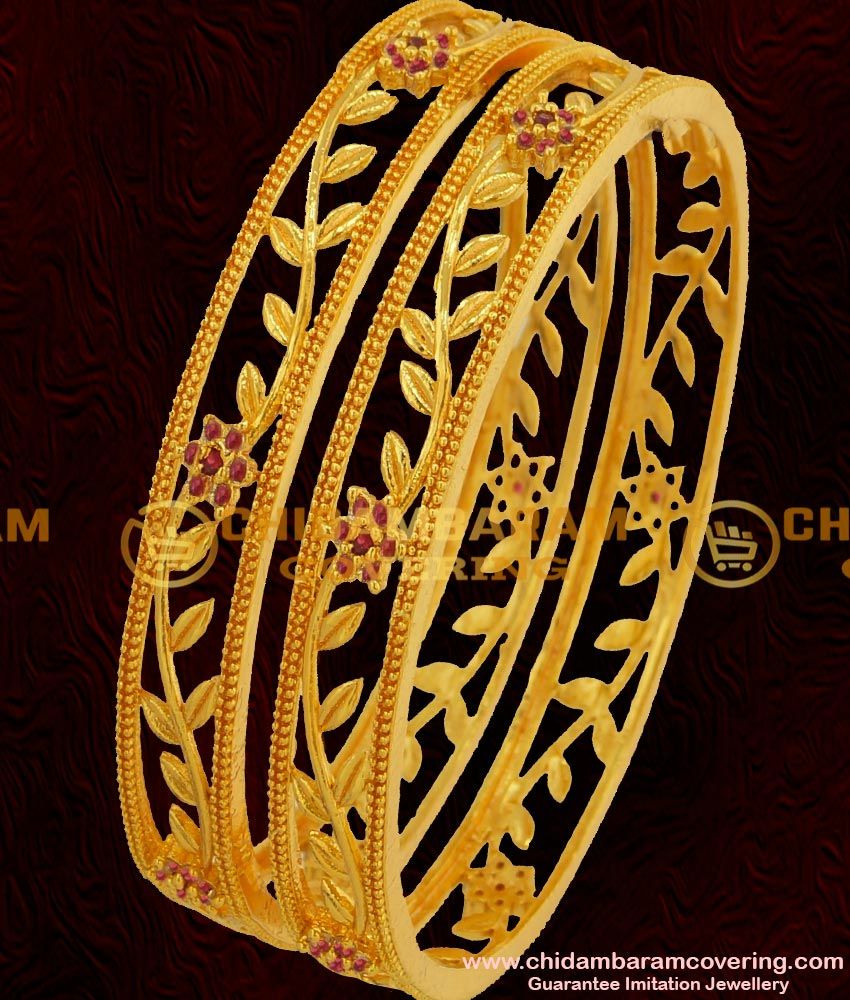 BNG051 - 2.6 Size Elegant Stylish Floral Stone Party Wear Bangles Exclusive One Gram Gold Plated Jewellery Online