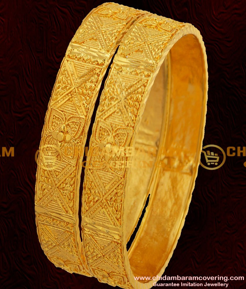 BNG054 - 2.8 Size Beautiful Broad Flower Bangles South Indian Guarantee Jewelry Online