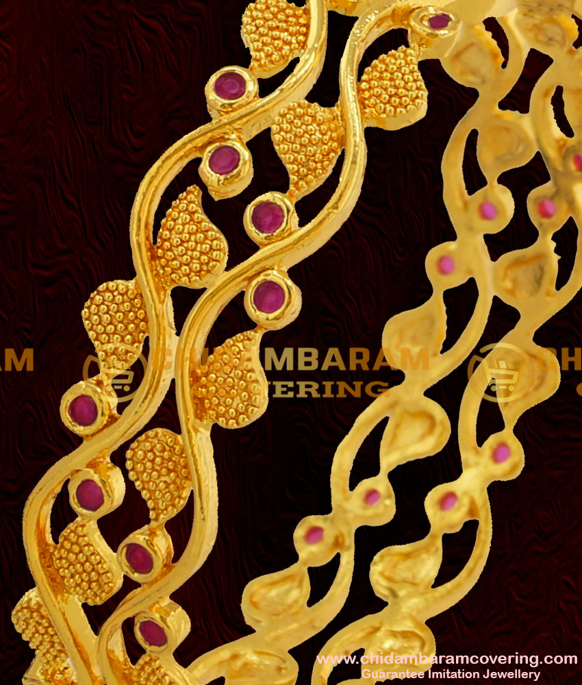 BNG055 - 2.8 Size 1 Gram Gold Plated Stylish Look Ruby Stone Mango Design Party Wear Bangle Buy Online