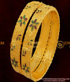 BNG053 - 2.8 Size Broad Gold Plated Floral Design Enamel Bangles 2 Pieces Buy Online Shopping India