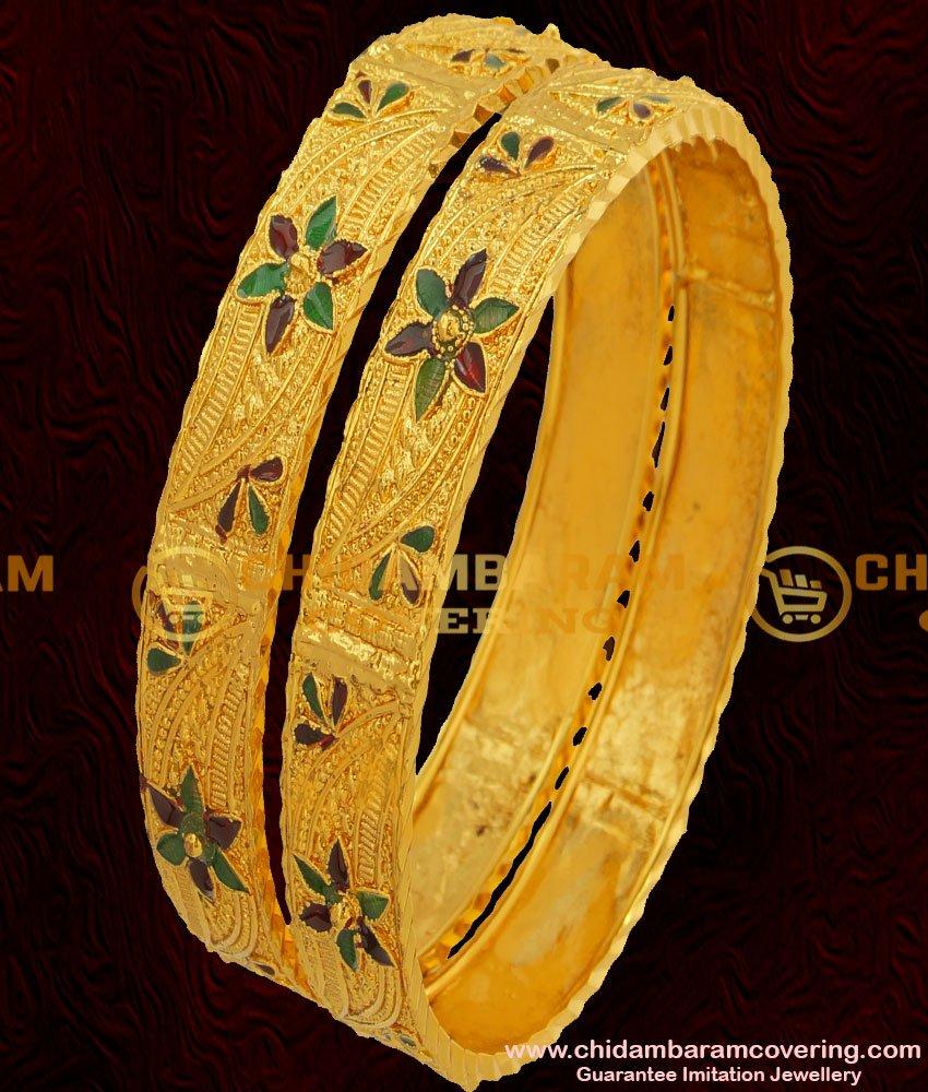 BNG057 - 2.4 Size Elegant Gold Plated Shiny Leaf Cutting Designer Bangles Online