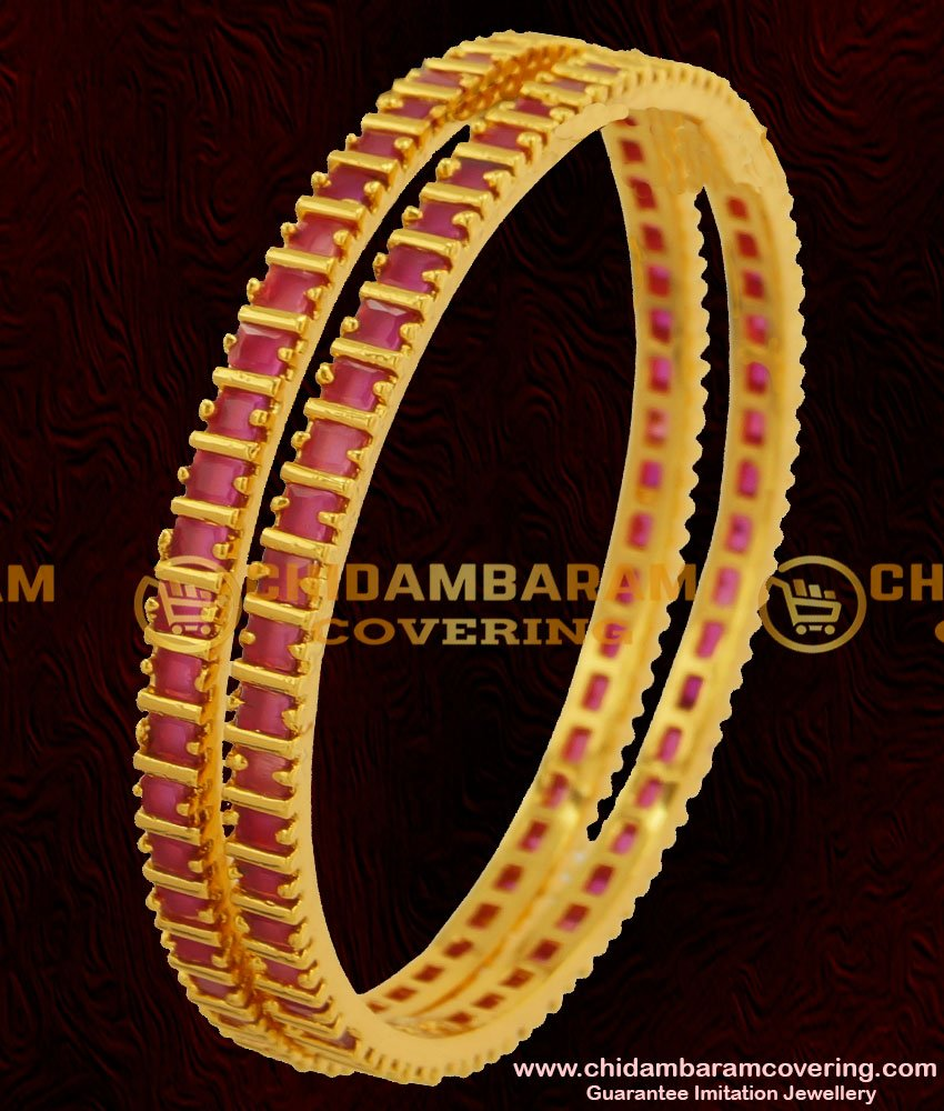 BNG059 - 2.6 Size Semi Precious Full Ruby Stone Bangles For Women
