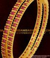 BNG059 - 2.4 Size Semi Precious Full Ruby Stone Bangles For Women