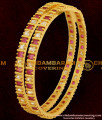 BNG061 - 2.8 Size Semi Precious Red And White Designer Stone Bangles For Women