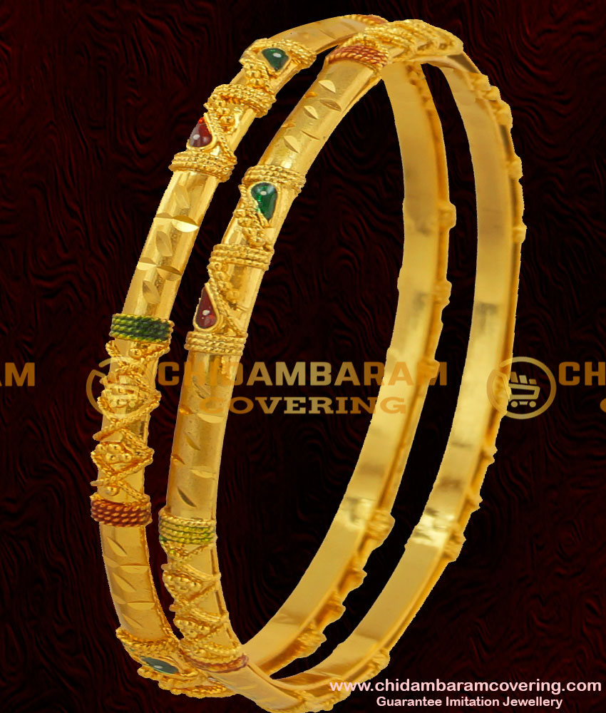 BNG065 - 2.6 Size Elegant Enamel Design Gold Plated Bangles 2 Pieces Buy Online