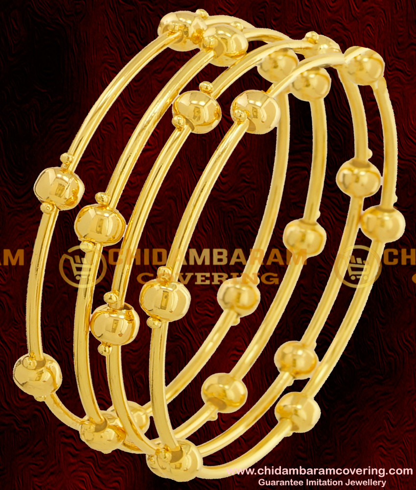 BNG069 - 2.8 Size Plain Golden Balls Pipe Bangles Party Wear Collections Online