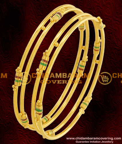 BNG070 - 2.8 Size South Indian Kambi Bangles Enamel Design Gold Plated Bangles