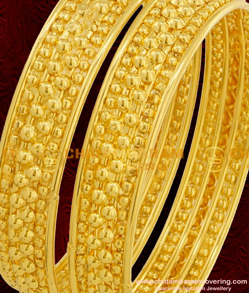 BNG072 - 2.6 Size Beautiful Gold Beads Bangles Designs Indian Bridal Bangles Collection Online