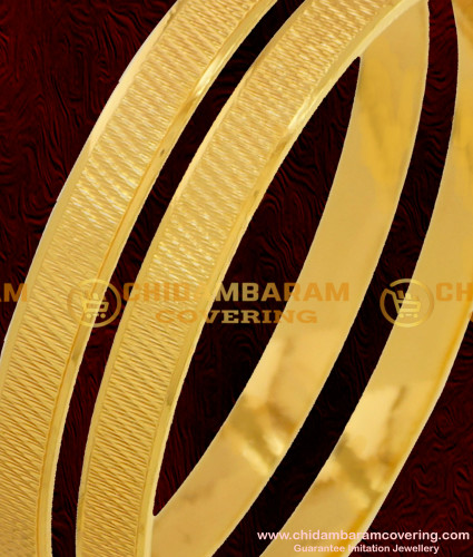 BNG074 - 2.8 Size Gold Plated Daily Wear Machine Cut Bangles South Indian Guarantee Jewelry Online