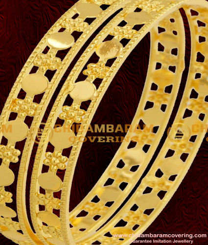BNG076 - 2.6 Size Latest Bangles Design Light Weight Gold Plated Bangles Online